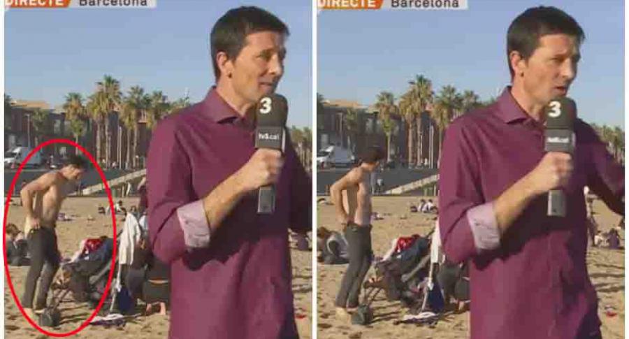 Hombre desnudo en reporte periodístico.