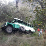 Bus accidentado en vía de Boyacá