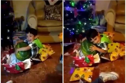 Niño recibe sandía en Navidad.