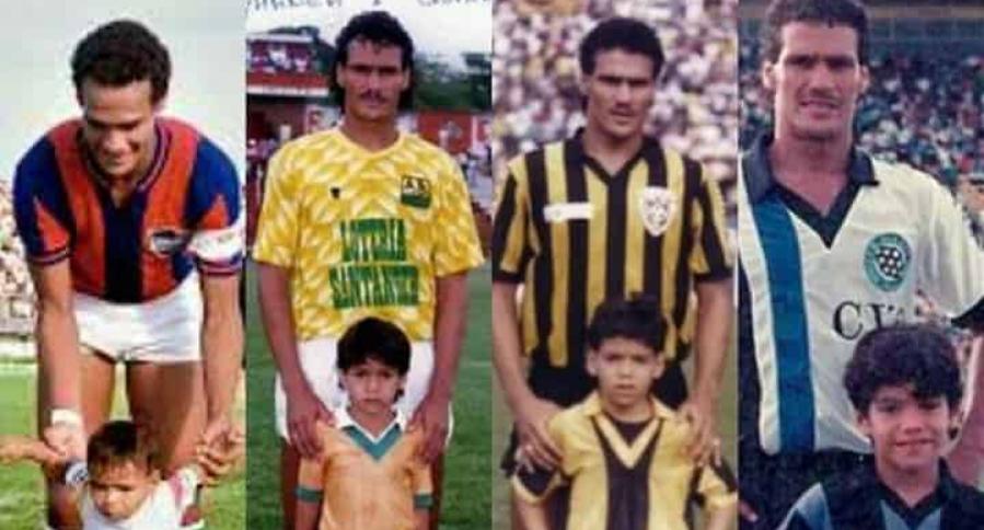 Radamel García posó con su hijo en varias etapas de su carrera