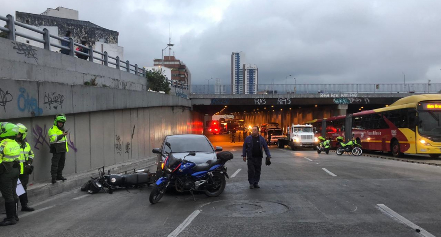 Accidente de tránsito entre moto y carro