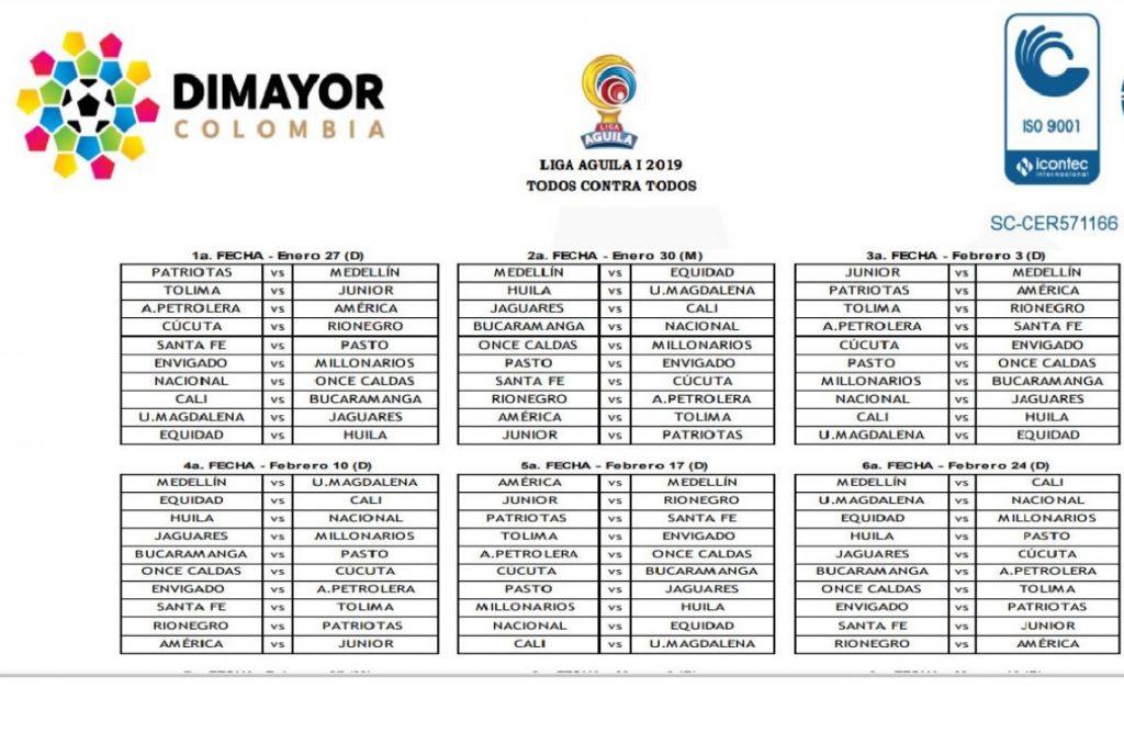 Calendario Liga Segunda.Asi Se Jugaran Las 20 Fechas De La Liga Aguila 2019 Con Regreso De