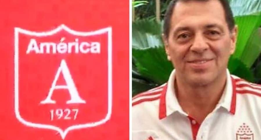 Escudo del América y Tulio Gómez