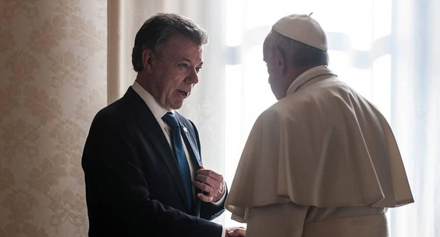 Juan Manuel Santos con el papa Francisco