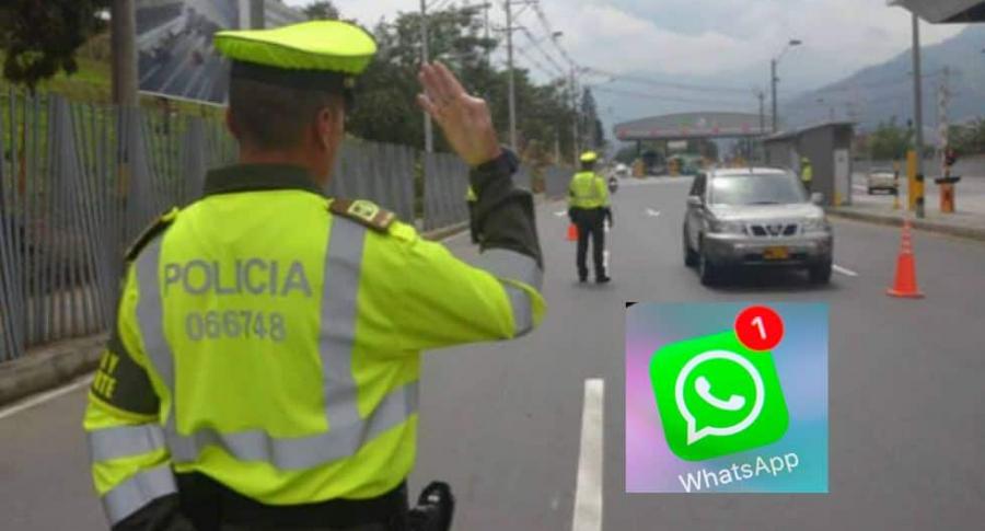 Policías de tránsito y logo de WhatsApp