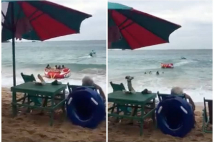 Turistas en bote inflable.