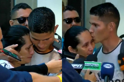 Jorman Campuzano consolando a su mamá