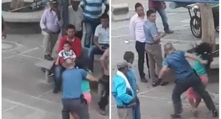 Taxista golpeando a mujer