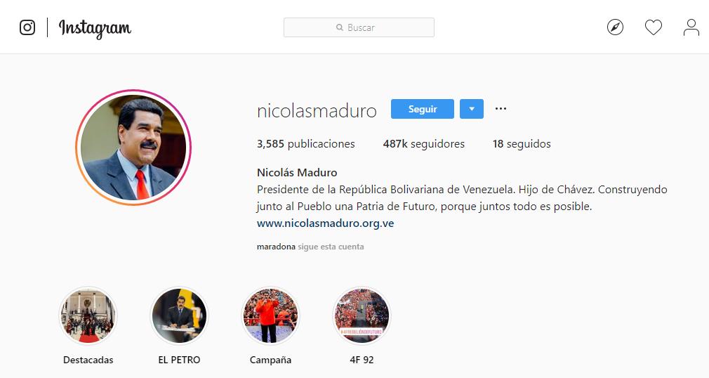Maduro en Instgagram