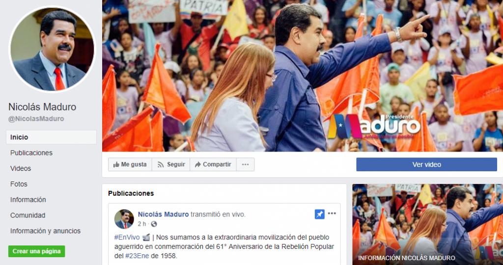 Nicolás Maduro, en Facebook