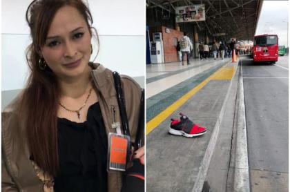 Mujer que perdió zapato en Transmilenio.