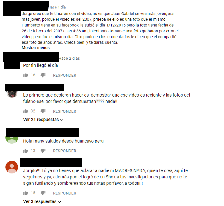 Comentarios en video de YouTube
