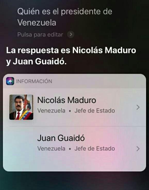 Siri y presidentes de Venezuela