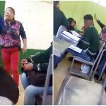 Mujer insulta a profesora.