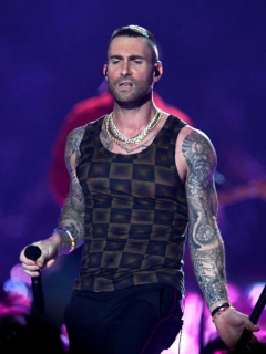 Adam Levine en el Super Bowl de 2019.