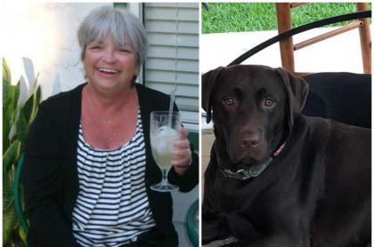 Mujer que fue salvada por sus perros.