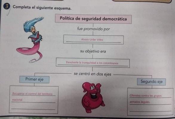 Seguridad democrática en texto de Santillana