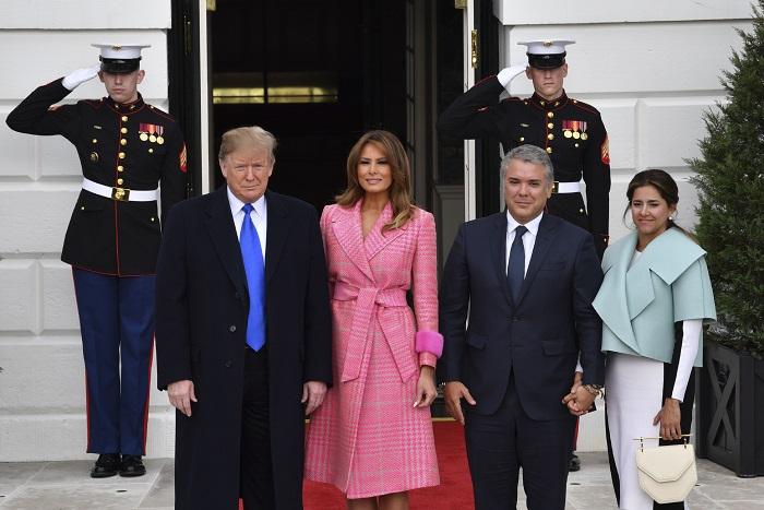 Donald Trump, presidente de Estados Unidos, su pareja Melania Trump, e Iván Duque, presidente de Colombia, y su esposa María Juliana Ruiz.