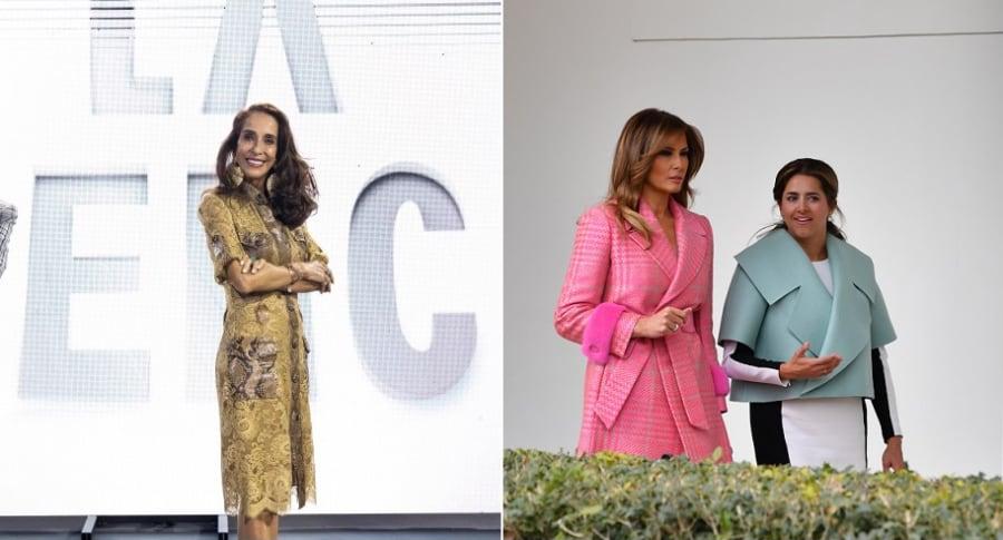Pilar Castaño, experta en moda, y Melania Trump y María Juliana Ruiz, primeras damas de Estados Unidos y Colombia, respectivamente.