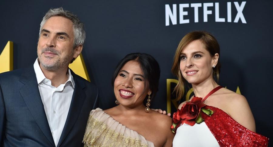 Alfonso Cuarón, Yalitza Aparicio y Marina de Tavira