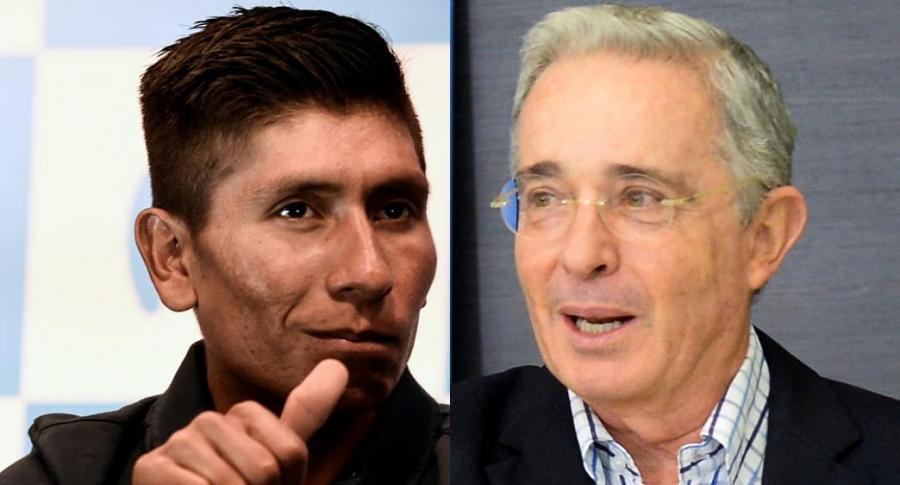 Nairo Quintana y Álvaro Uribe