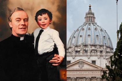 Vincent Doyle con el reverendo John J. Doyle y basílica de San Pedro