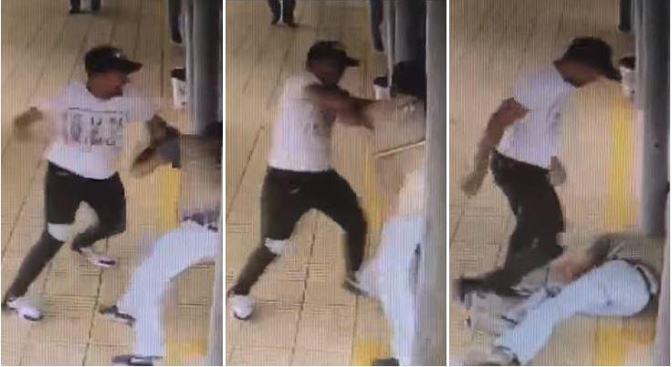 Momento en que vendedor ataca a guía de Transmetro