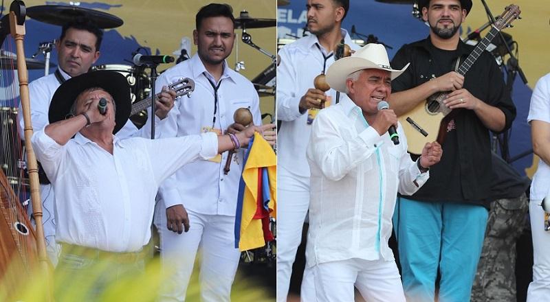 El Cholo Valderrama y Reynaldo Armas, cantantes.