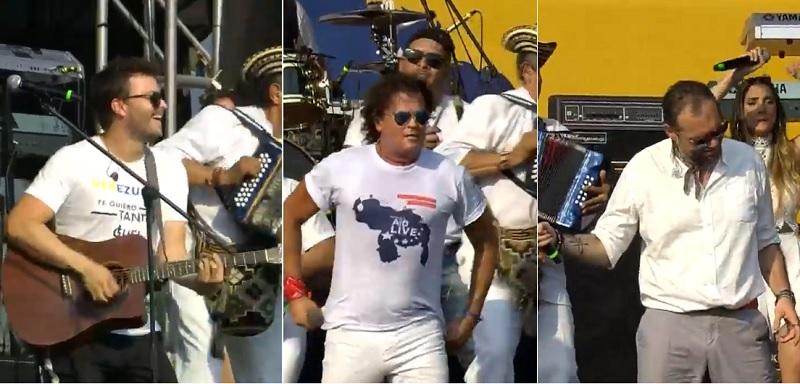 Gusi, Carlos Vives y Santiago Cruz, cantantes.