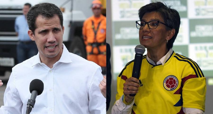 Juan Guaidó, presidente interino de Venezuela, y Claudia López, exsenadora de Colombia.