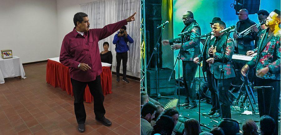 Nicolás Maduro, presidente de Venezuela, y el Grupo Niche.