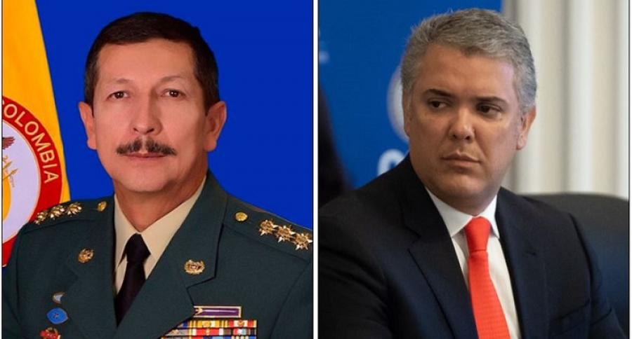 General Nicacio de Jesús Martínez Espinel, comandante del Ejército e Iván Duque