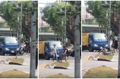 Ciclista golpea a camionero.