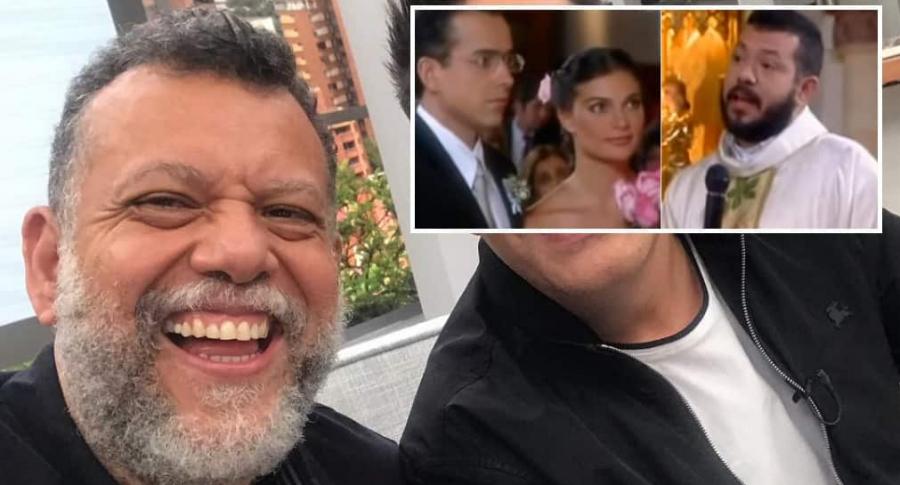 El padre Alberto Linero y los actores Jorge Enrique Abello y Ana María Orozco.