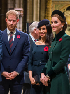 Príncipes William y Harry, Meghan Markle, y Kate Middleton
