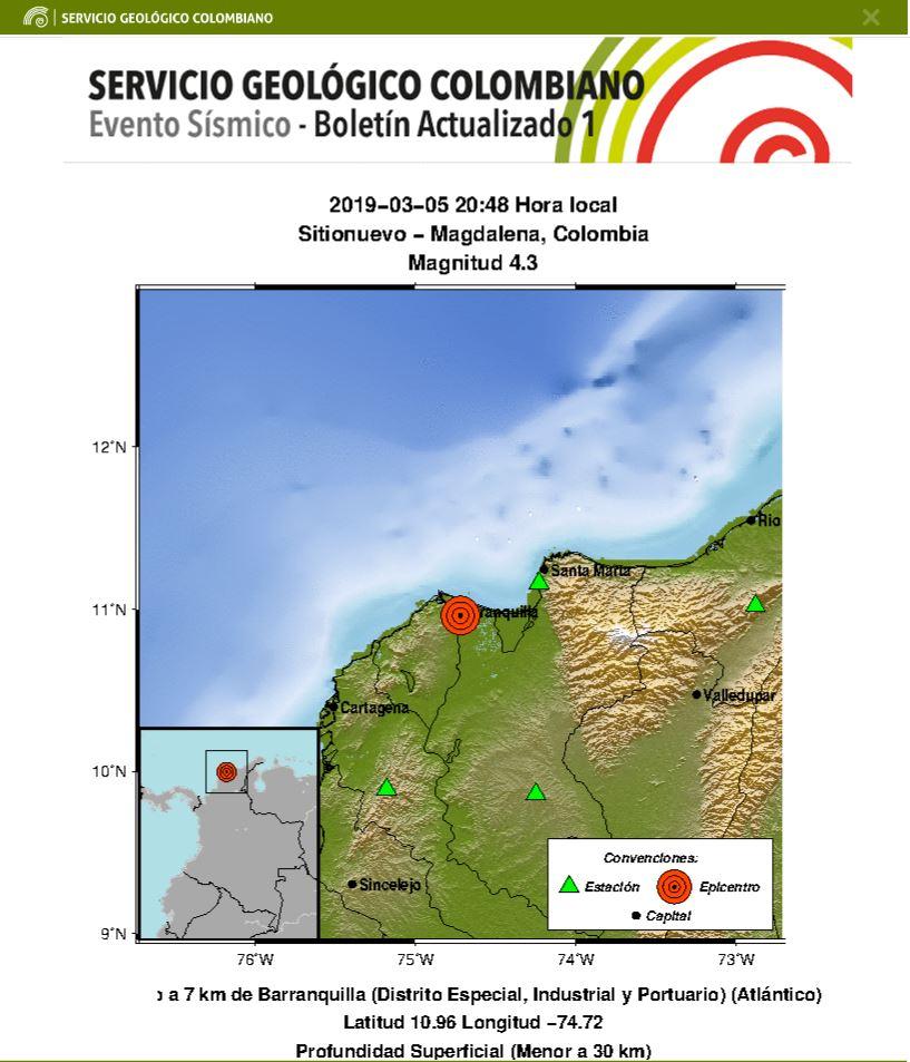 Temblor en Magdalena