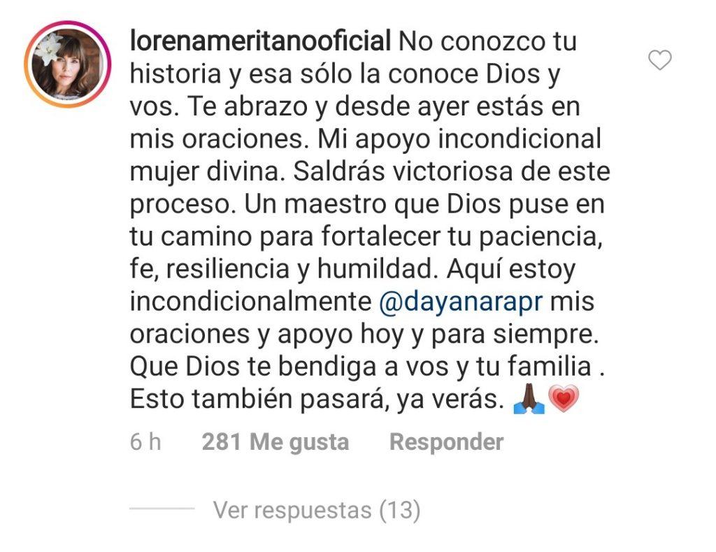 Comentario de Lorena Meritano a foto de Dayanara