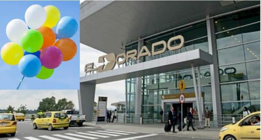 Globo de helio en aeropuerto El Dorado