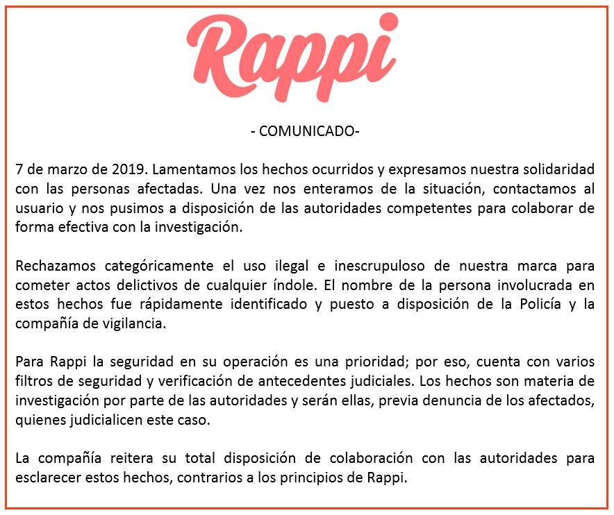 Comunicado de Rappi