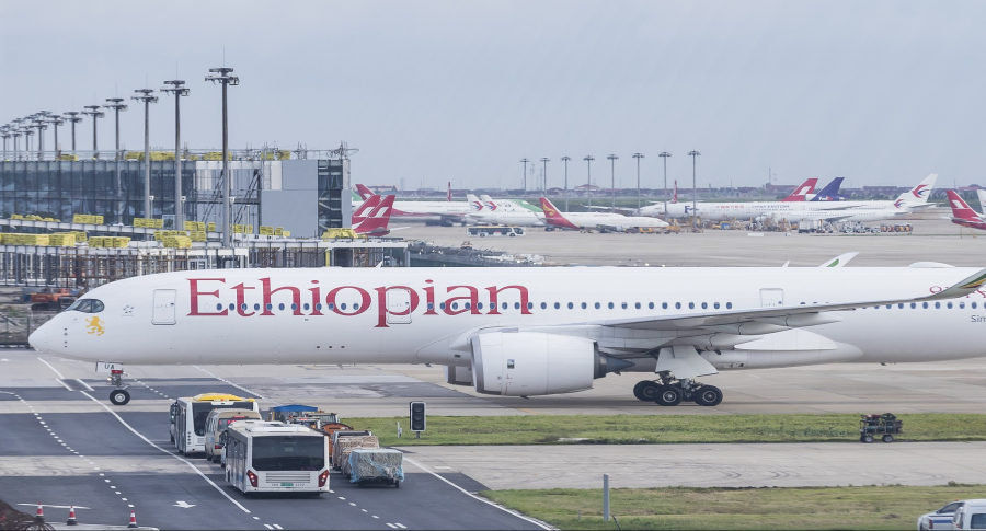 Avión de Ethiopian Airlines en China (imagen de archivo)