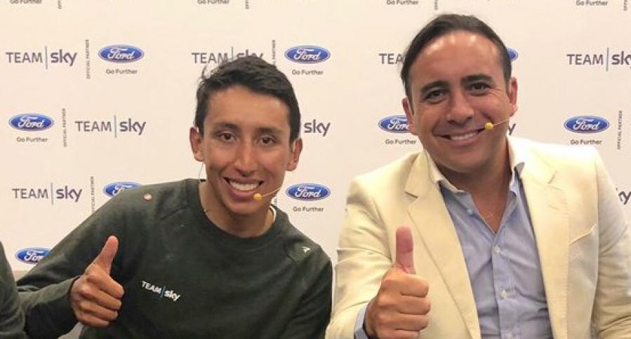 Egan Bernal y Mario Sabato