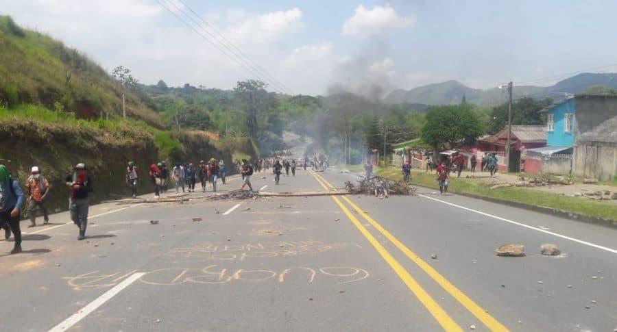 Protesta en vía Panamericana