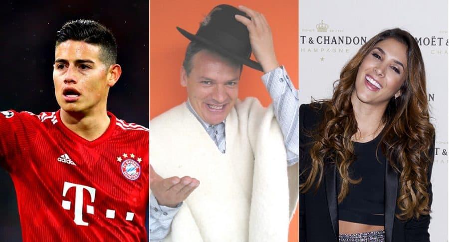 James Rodríguez, futbolista; don Jediondo, humorista; y Daniela Ospina, modelo.