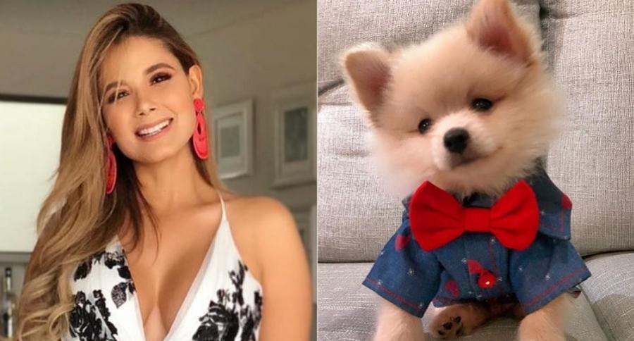Melissa Martínez, presentadora, y su perro Mate.