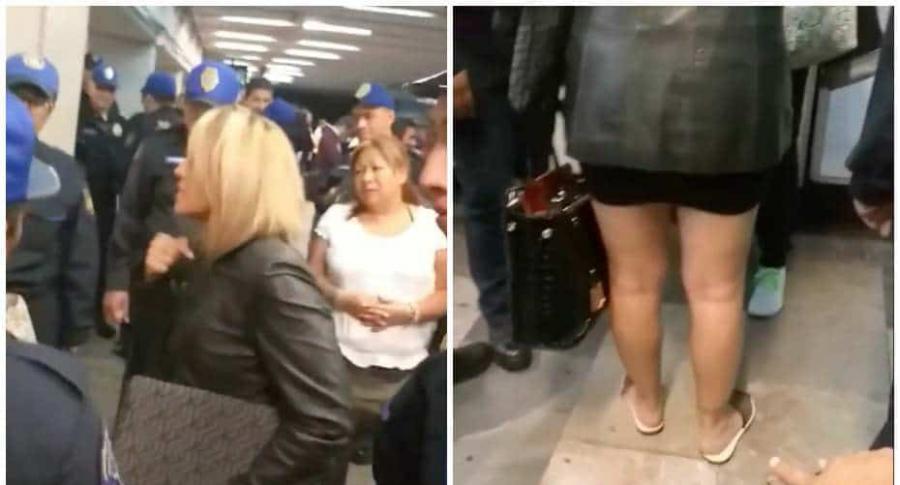 Mujer pelea porque le pisaron una chancla.