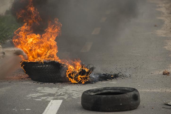 Llanta quemada