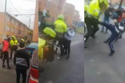 Pelea policía.