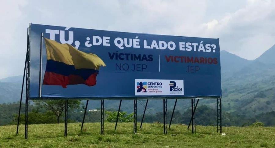 Vallas contra la JEP en Antioquia