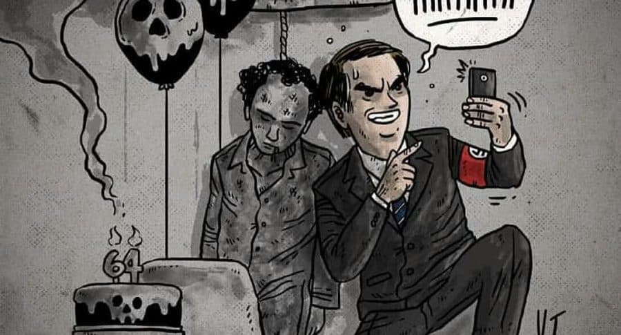 Bolsonaro en una caricatura