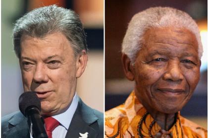 Juan Manuel Santos y Nelson  Mandela (Q.E,P.D.)